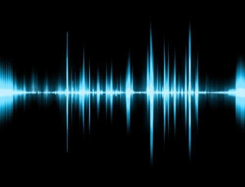 Graphic of a digital sound on black bottom